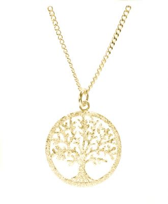 18K GOLD VERMEIL DIAMOND PAVE FINISH SILVER TREE OF LIFE YGGDRASIL ADJUSTABLE NECKLACE